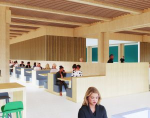 Rendering of an eating space in the Lawson Centre for Sustainability