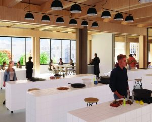 Rendering of the community kitchen in the Lawson Centre for Sustainability